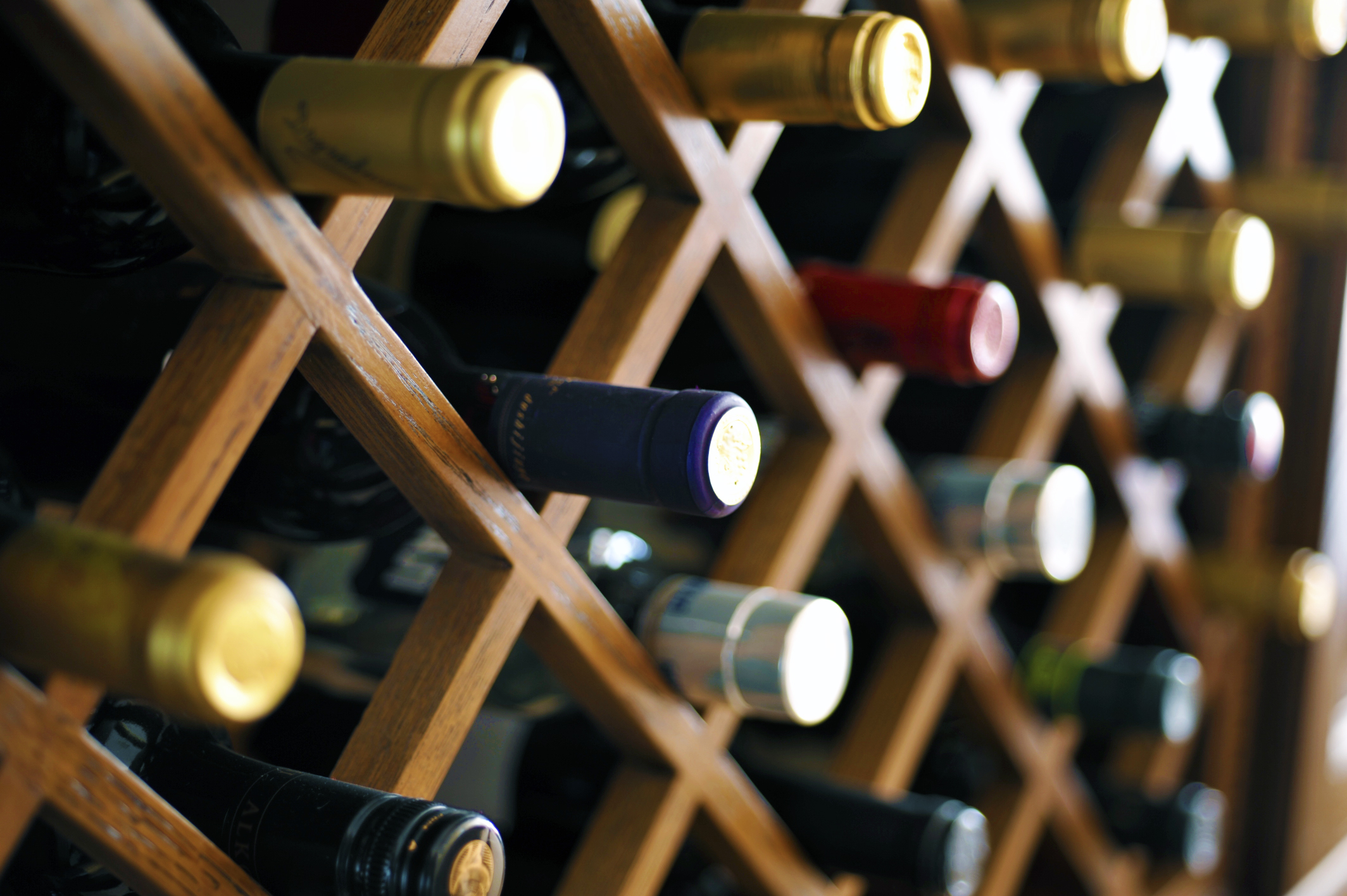 Wine bottles in a vertical rack