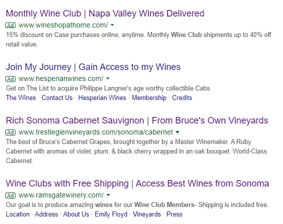 Napa Valley Wine Search